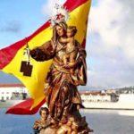 Virgen del Carmen y bandera de España